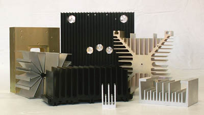 collection of extruded aluminum heat sinks